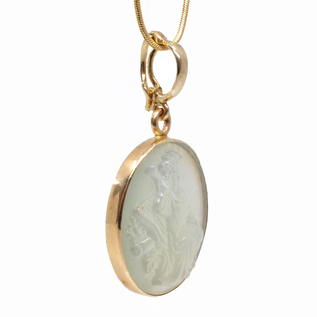 Pale Green Moonstone 23.41 mm Empress Carving 14K Handcrafted Gemstone Pendant