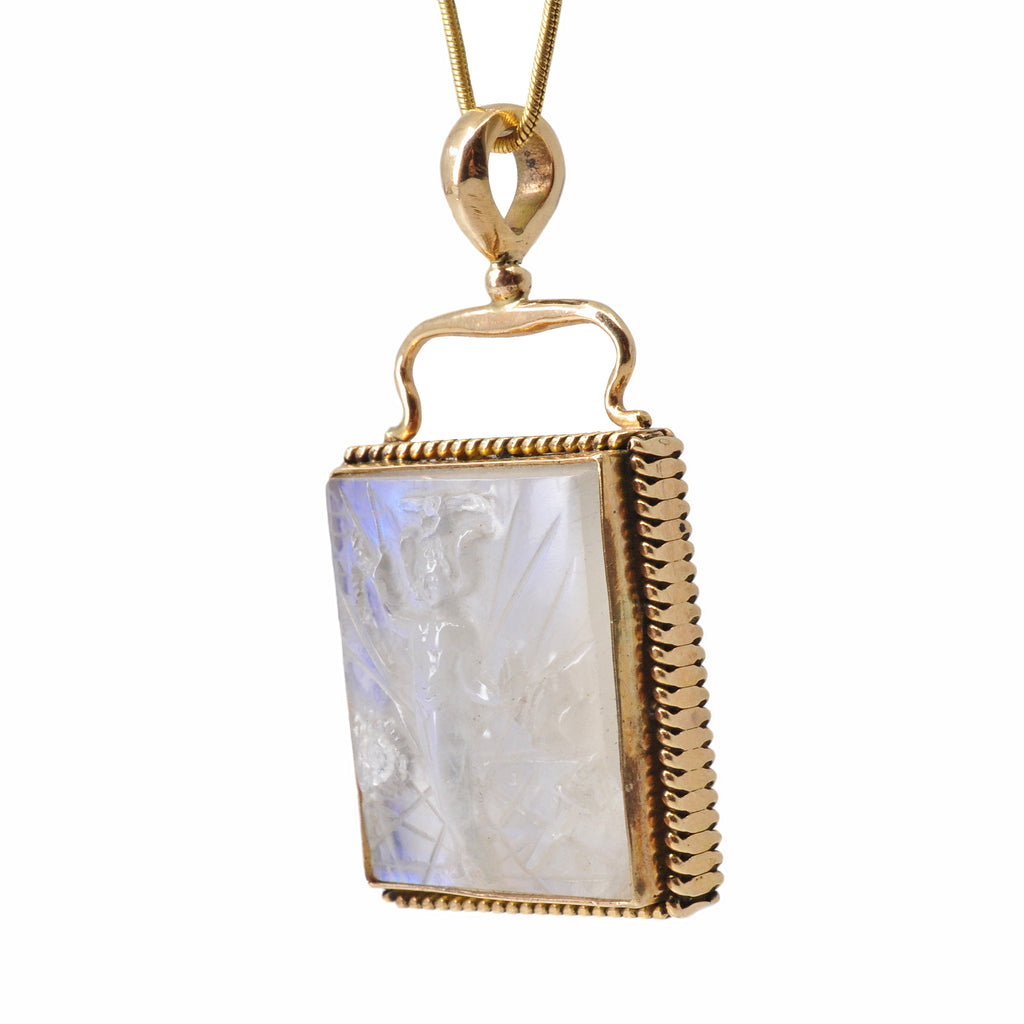 Blue Moonstone 23.35 mm 44.85 carats Magician Carving 14K Handcrafted Gemstone Pendant