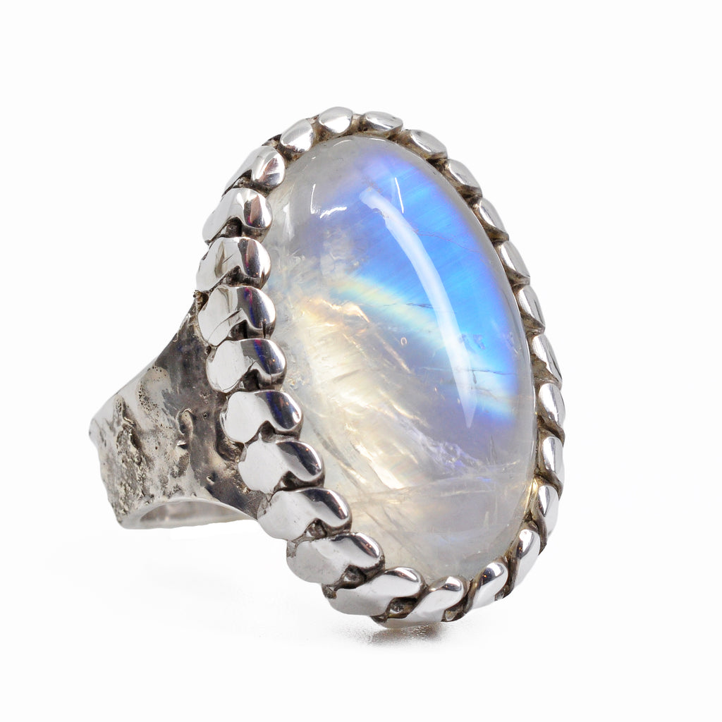 Blue Moonstone 20.52 mm 17.07 carats Oval Cabochon Sterling Silver Handcrafted Gemstone Ring