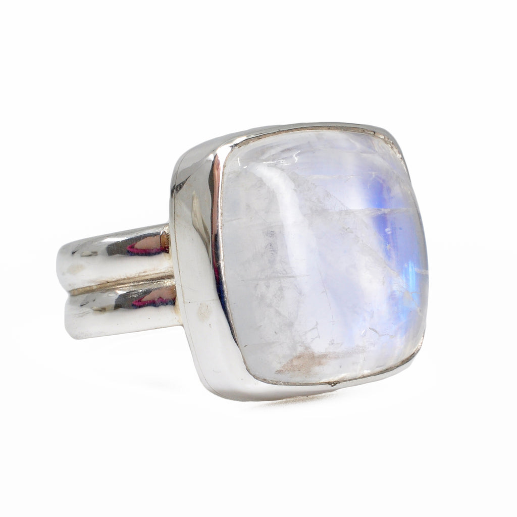 Blue Moonstone 21.03 mm 19.93 carats Square Cabochon Sterling Silver Handcrafted Gemstone Ring