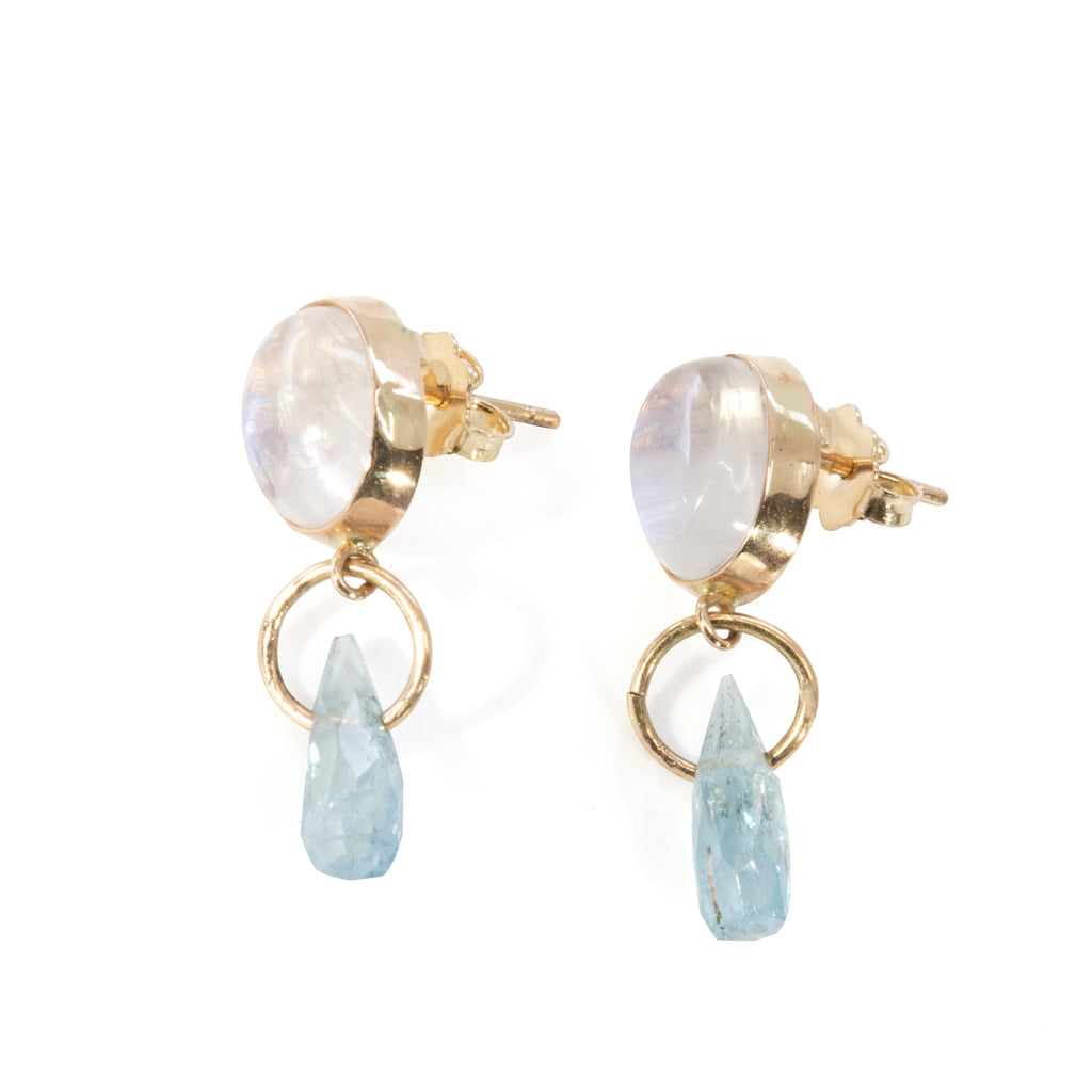 Moonstone 6.45 carat with Aquamarine Briolette 14k Handcrafted Earrings