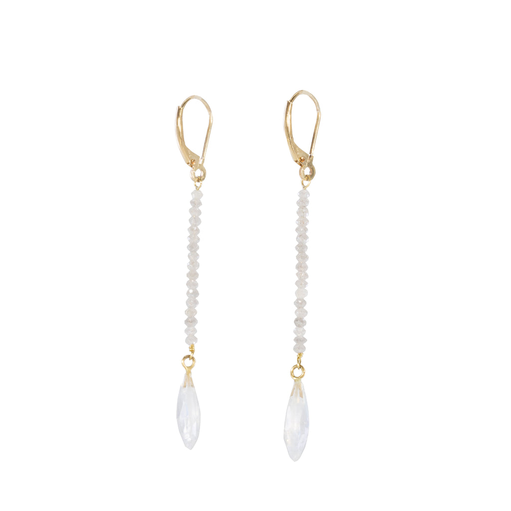 Moonstone 5.8 carat with Diamond Bead Handcrafted 14k Earrings