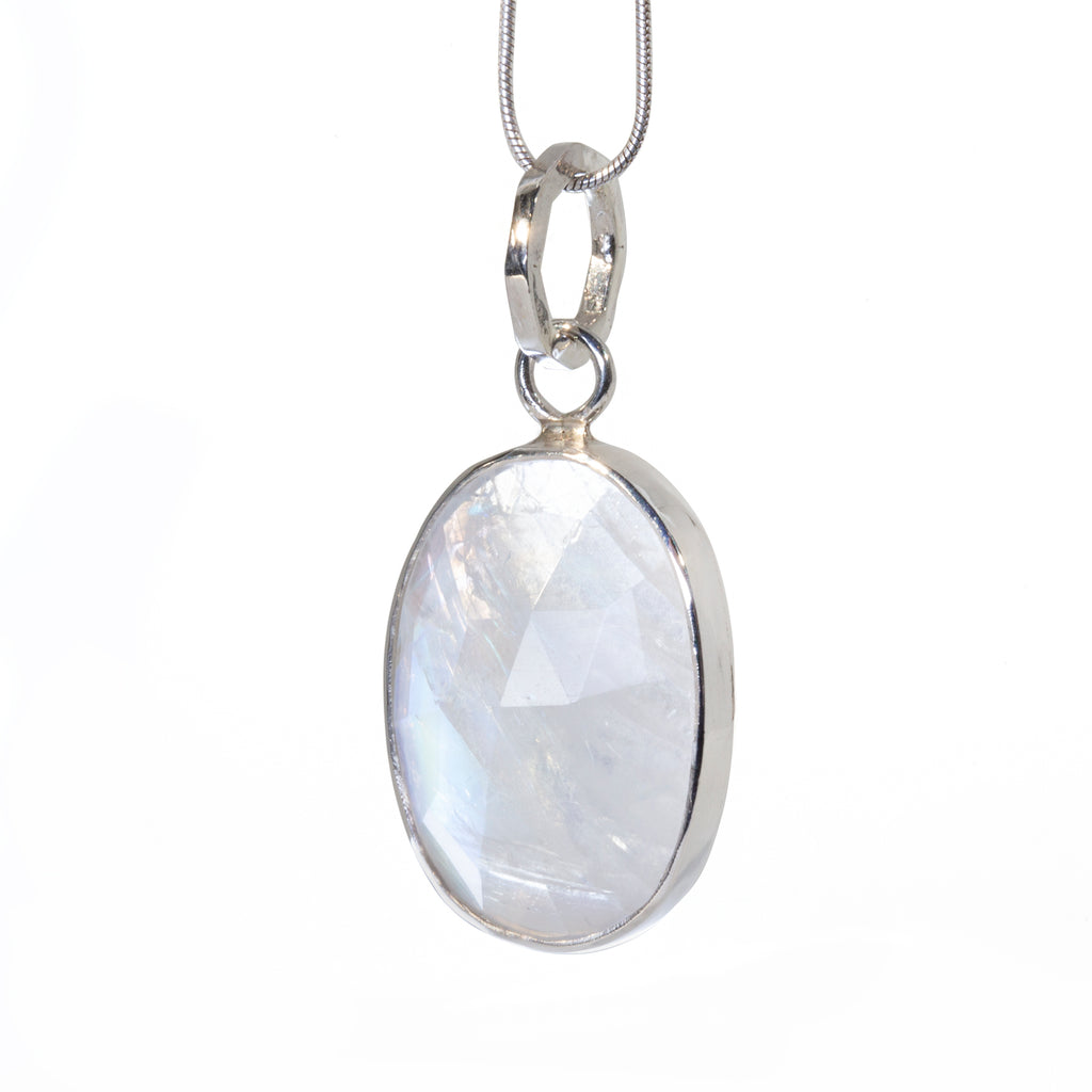 Moonstone Rosecut 19.45 carat Handcrafted Sterling Silver Pendant