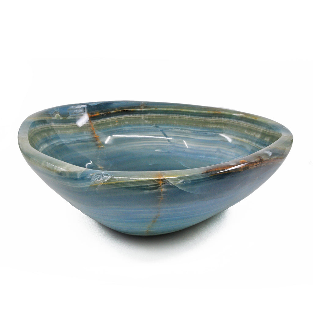 Blue Onyx 9.2 inch 4.3 lbs Natural Crystal Carved Bowl - Argentina