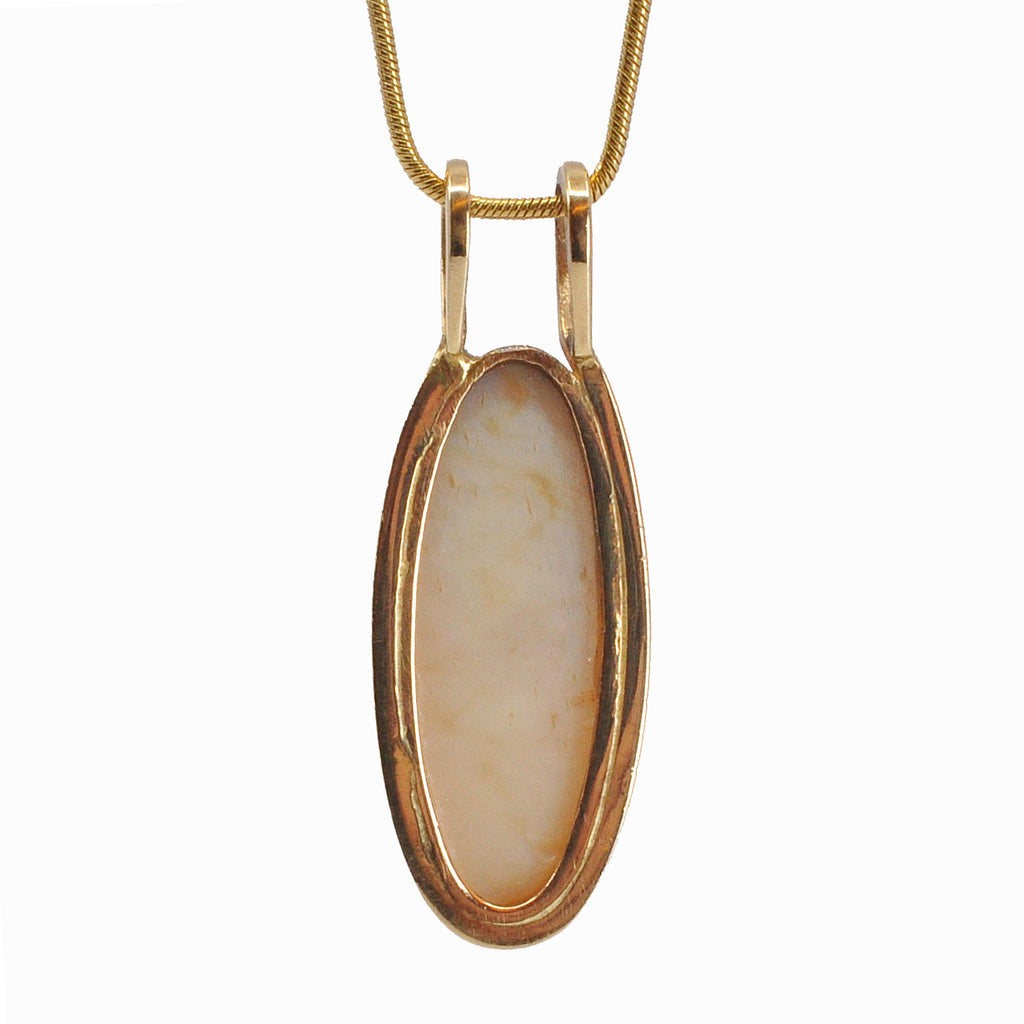 Catseye Opal 23.17 mm Oval Cabochon 14K Handcrafted Gemstone Pendant
