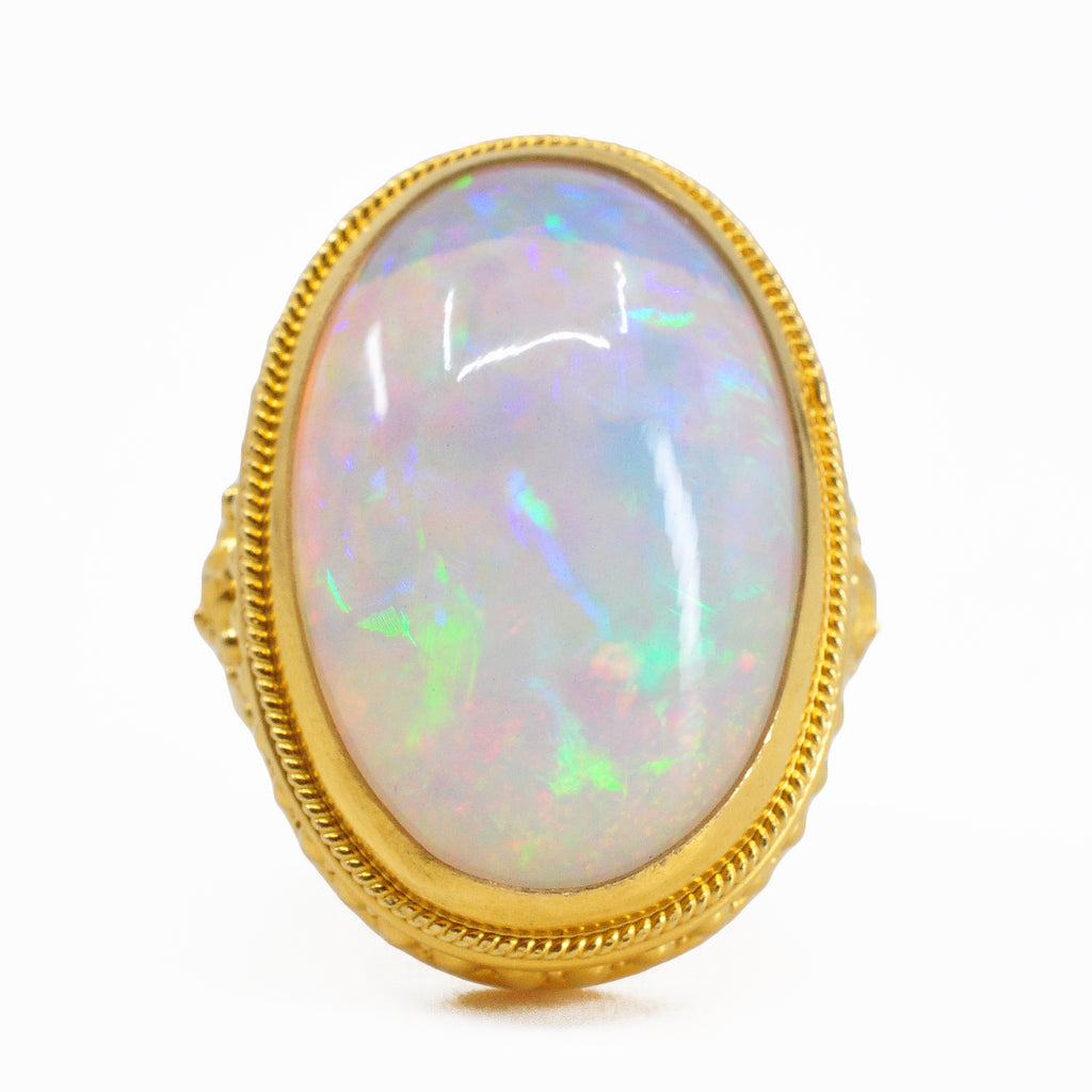 Ethiopian Opal 23.04 mm 19.64 ct Oval Cabochon 22K Gemstone Ring