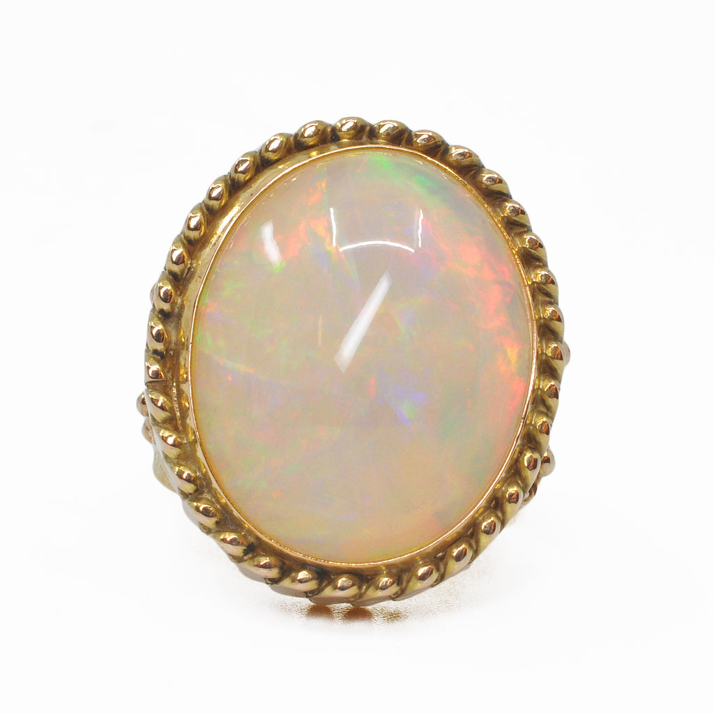 Opal 15.98 carat 25.4 mm Gemstone Cabochon 14k Handcrafted Ring