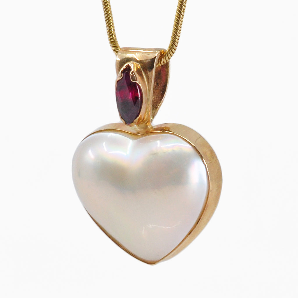 Pearl 16.08 mm 7.95 carats with Faceted Ruby 14K Handcrafted Gemstone Pendant