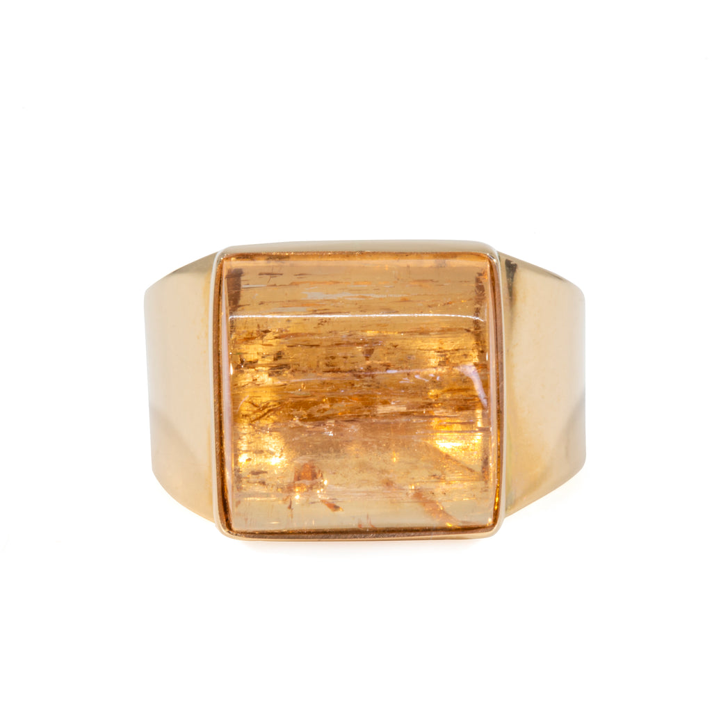 Imperial Topaz 16.56 carat 14k Handcrafted Cabochon Ring