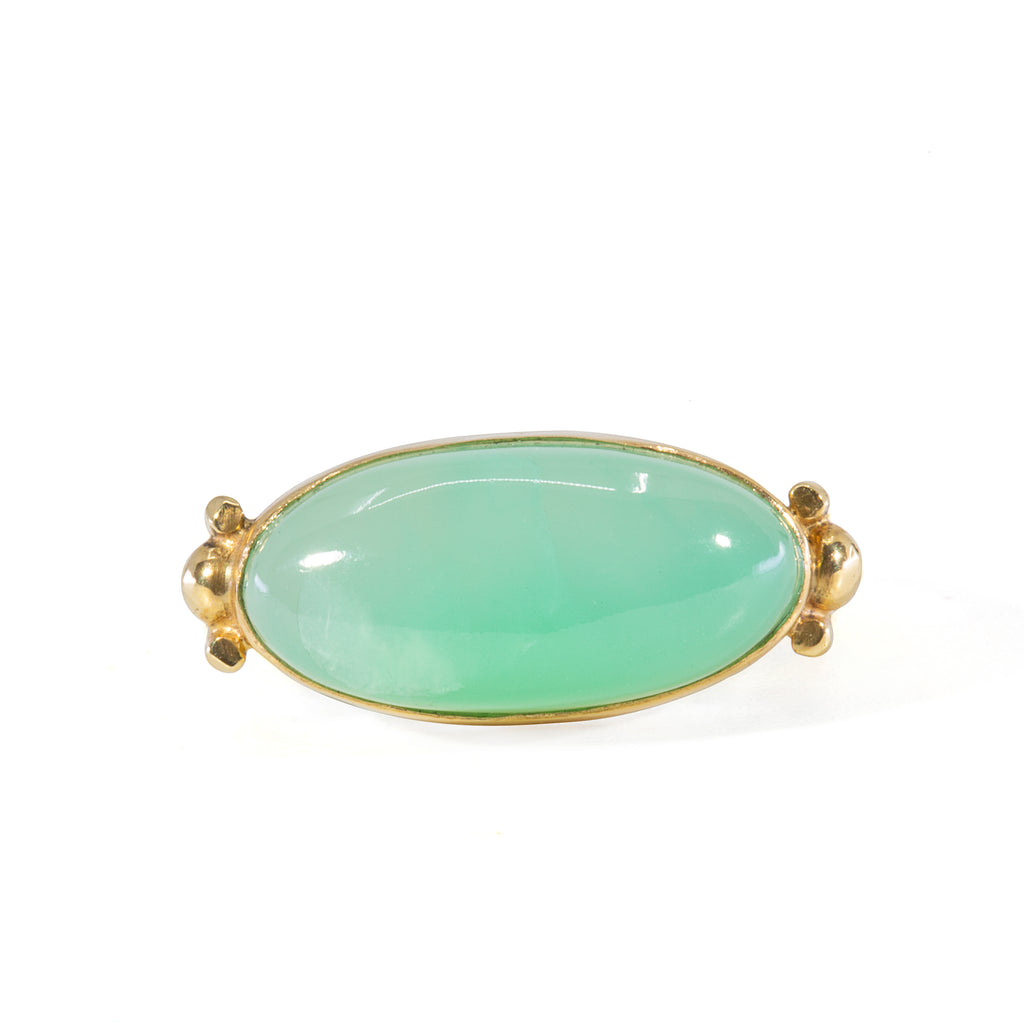 Green Opal 2.49 carat Horizontal 18k Handcrafted Ring