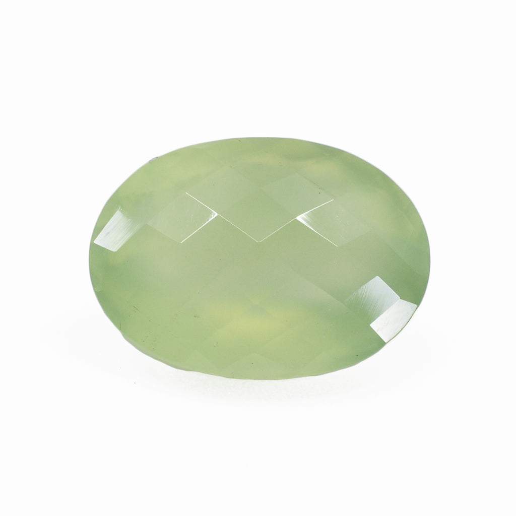 Prehnite 20.11 mm 20.56 carats Oval Rosecut Faceted Gemstone - Burma