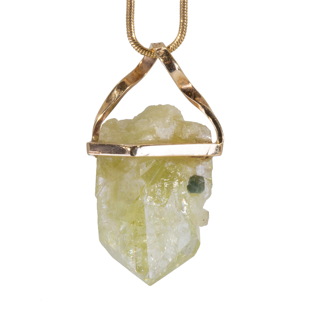 Brazilianite 6.5 carat Handcrafted 14k Natural Crystal Pendant