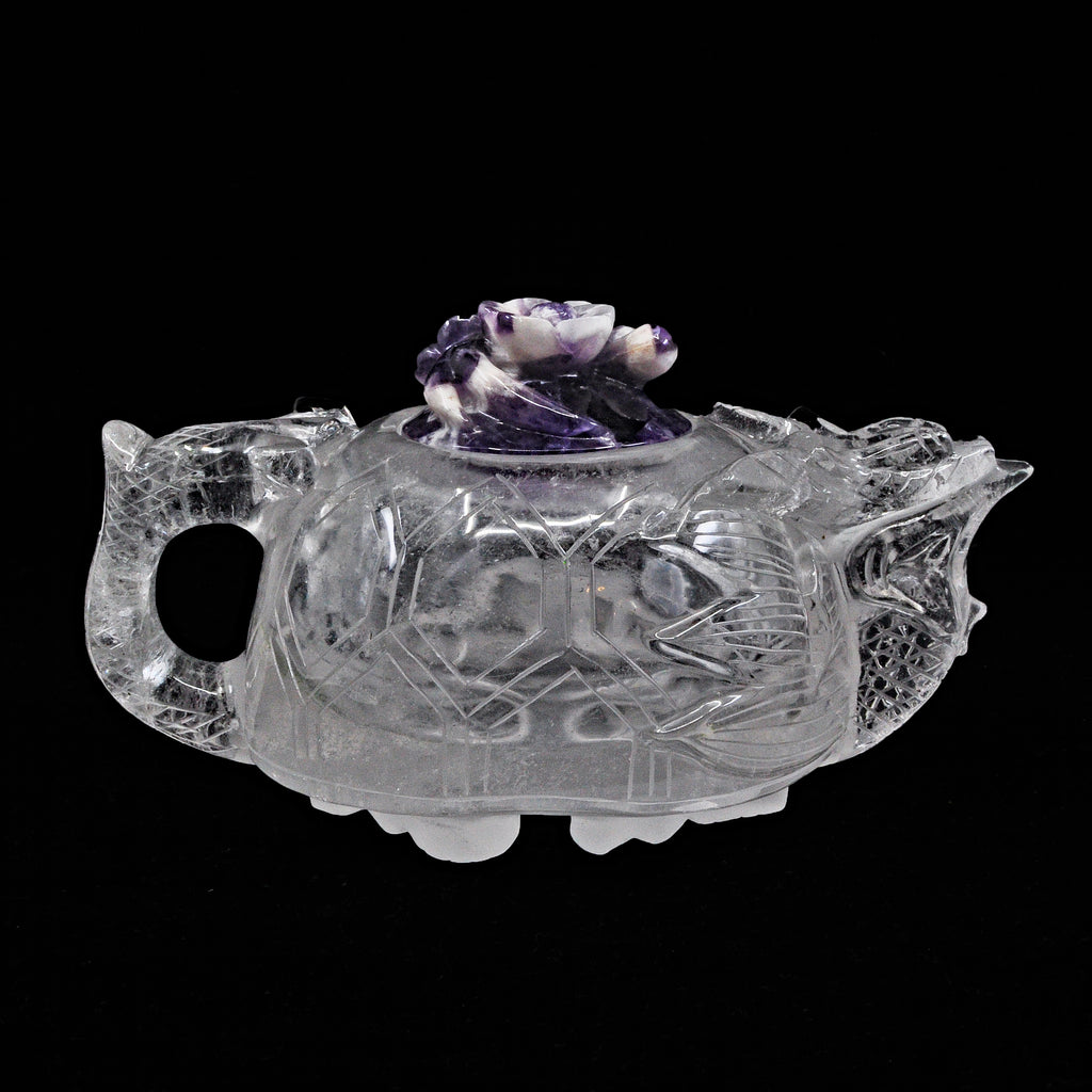 Quartz with Amethyst 6.02 inch 1.7 lbs Dragon and Floral Carved Natural Crystal Teapot