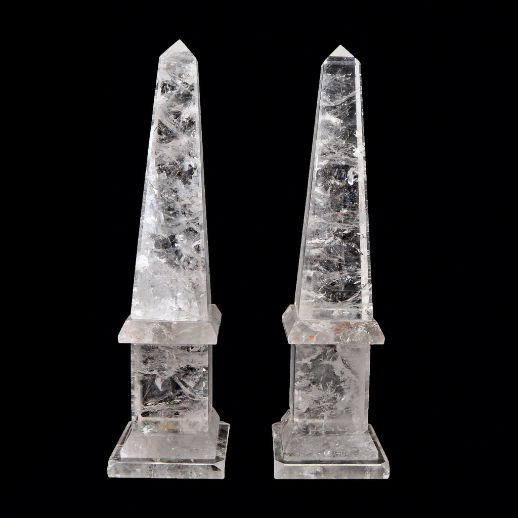 Clear Quartz 12.5 inch Carved Crystal Obelisk Pair - Brazil