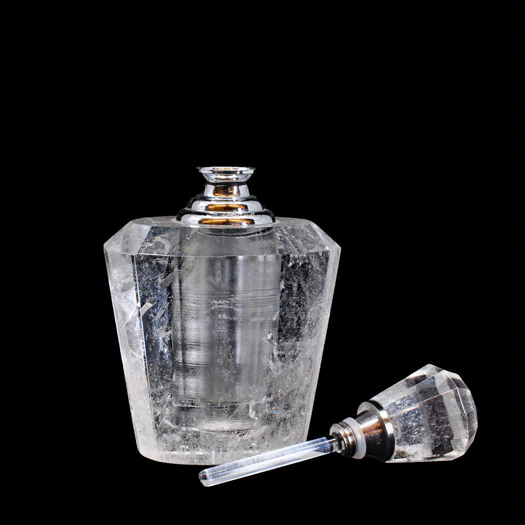 Faceted Clear Quartz 3 inch Crystal Perfume Bottle