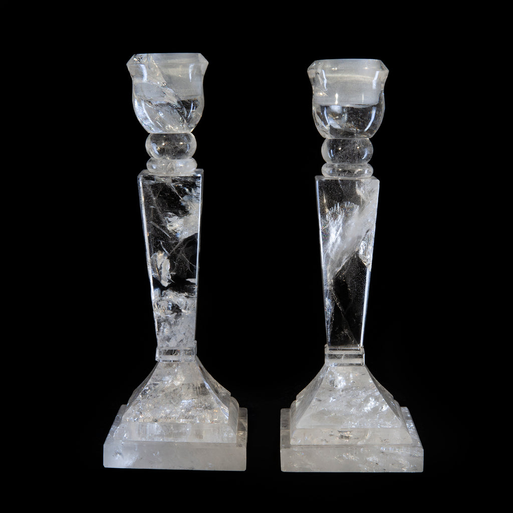 Clear Quartz 9.25 inch Crystal Candle Stick Pair