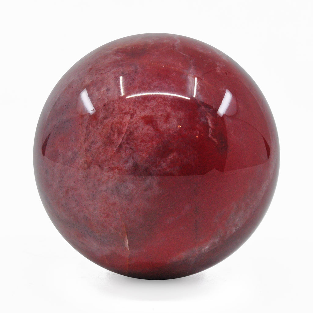 Red Quartz 3.0 inch 1.38 lbs Natural Crystal Polished Sphere - Kazakhstan