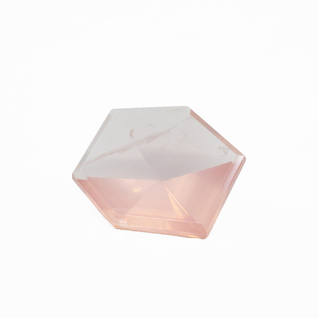 Rose Quartz 29.57 mm 26.5 carats Geometric Faceted Gemstone