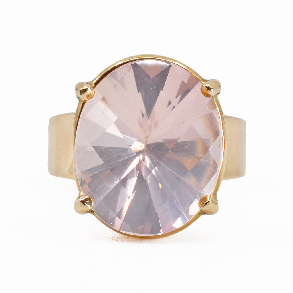 Luminous Rose Quartz 16.5 mm 9.75 ct Faceted Oval 14K Handcrafted Gemstone Prong Ring