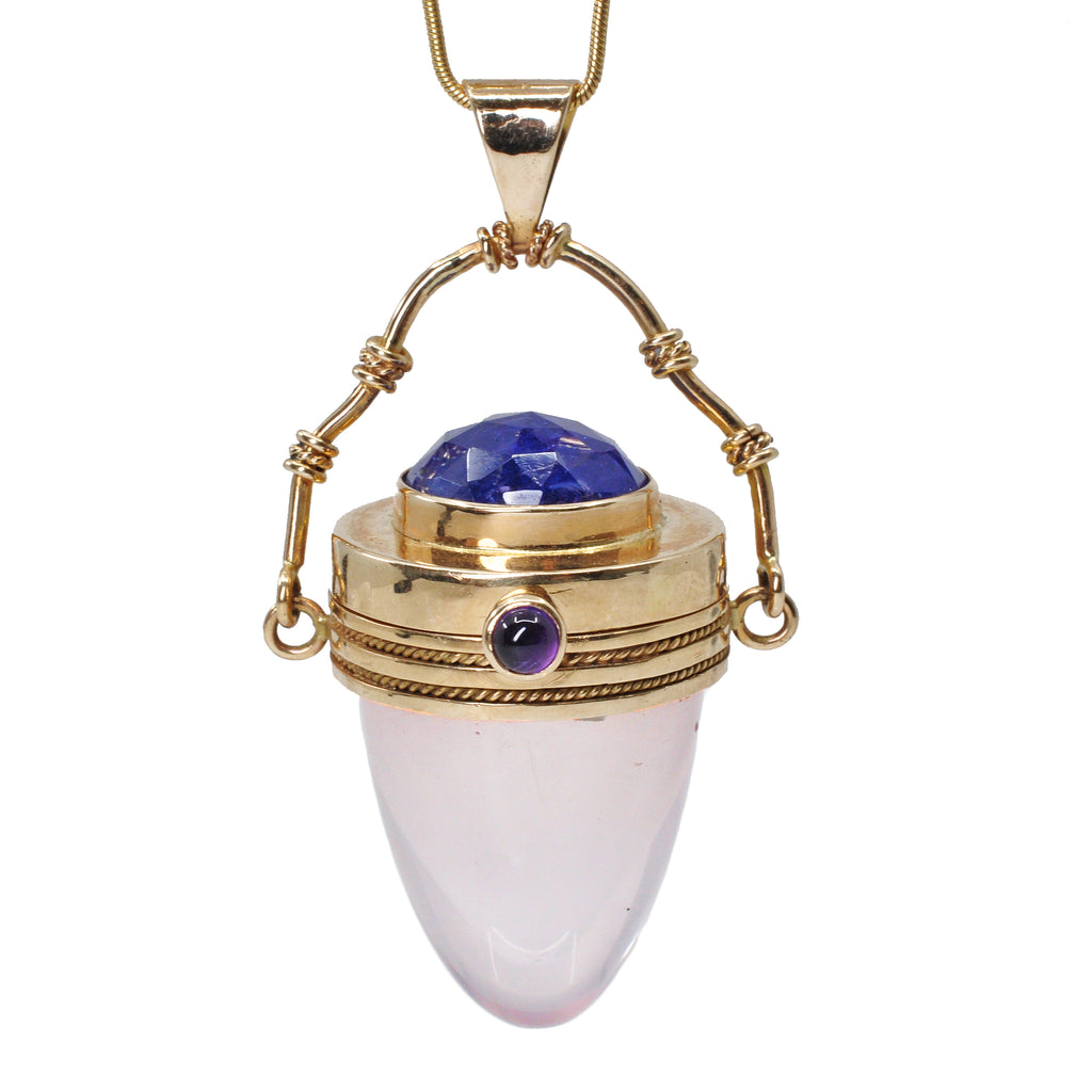Rose Quartz with Tanzanite and Amethyst 14k Handcrafted Gemstone Vessel Pendant
