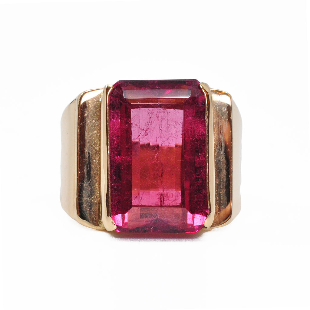 Rubelite Tourmaline 16.28 mm 10.45 carats Faceted Rectangle 14K Handcrafted Gemstone Ring
