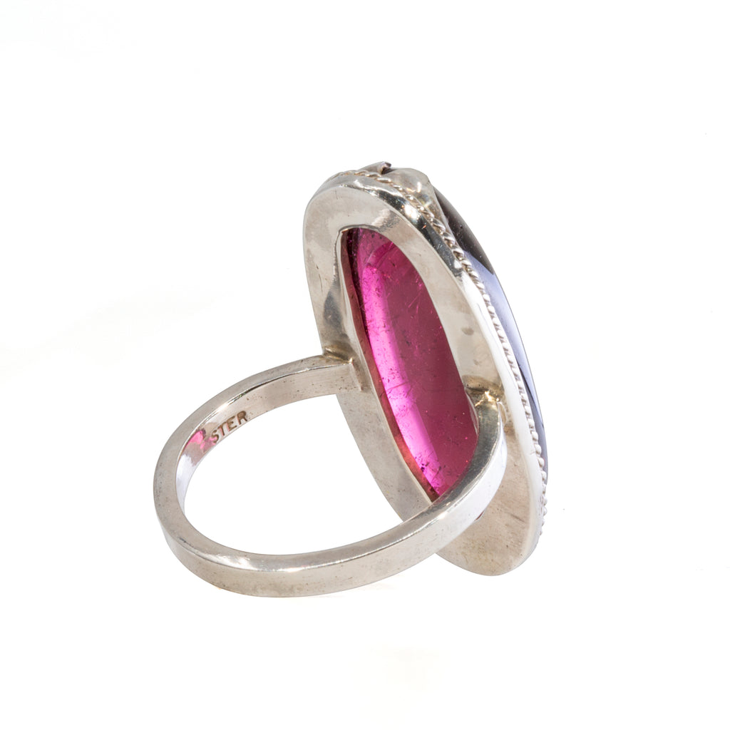 Rubelite Tourmaline 19.65 carat Oval Cabochon Sterling Silver Handcrafted Ring