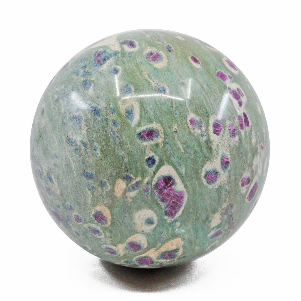 Ruby with Kyanite in Fuchsite 4.58 inch 6.5 lbs Natural Crystal Polished Sphere - India