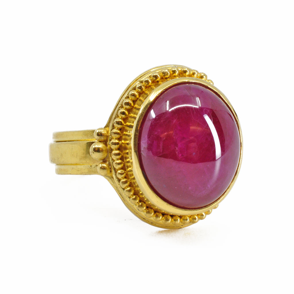 Gorgeous Ruby 12.41 cts Oval Cabochon 22K Handcrafted Gemstone Ring