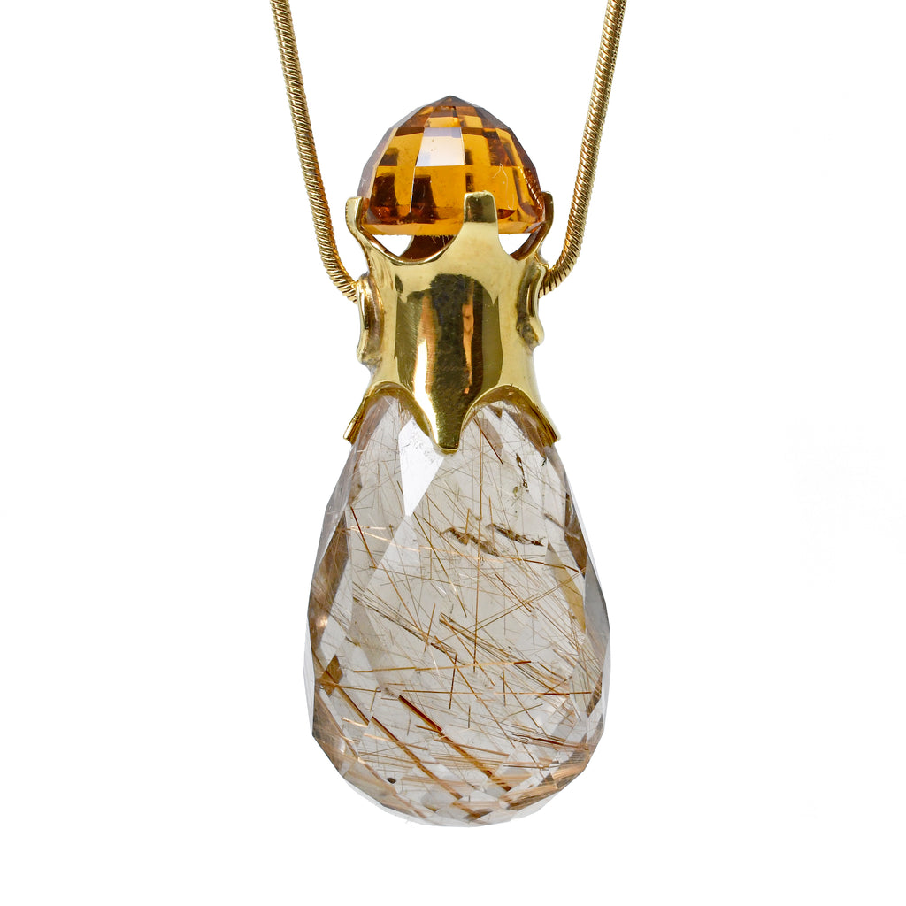 Rutilated Smoky Quartz with Citrine 23.2 mm 46.22 ct Handcrafted 18K Briolette Pendant