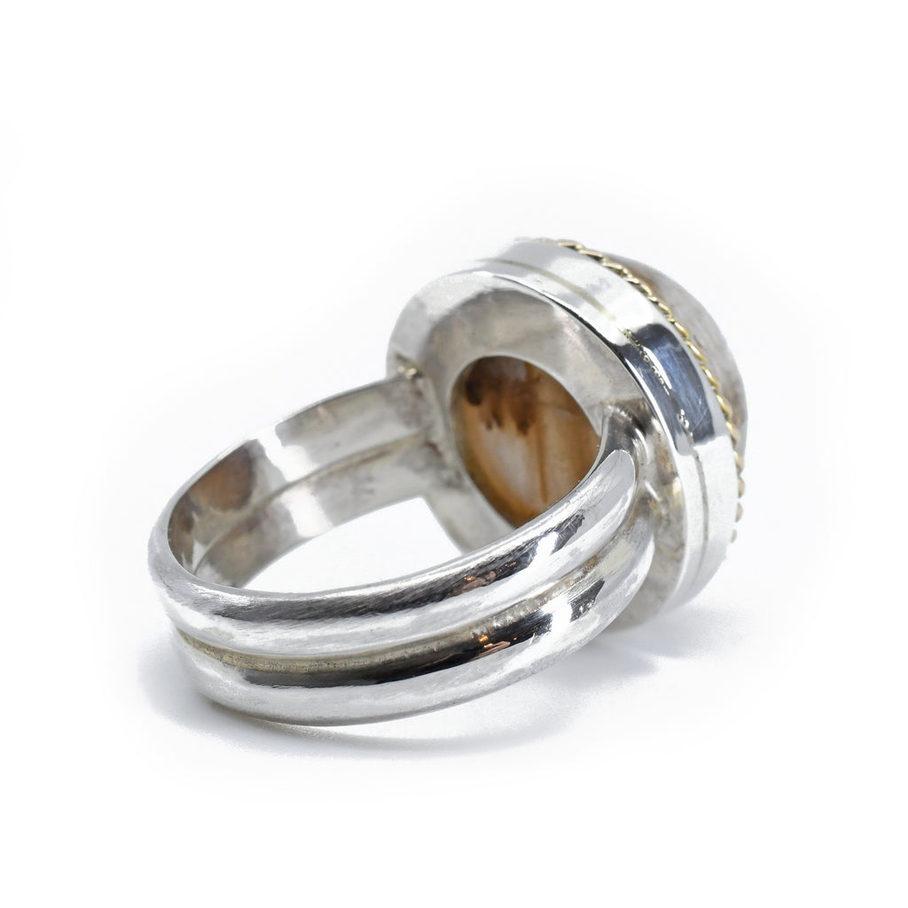 Rutilated Quartz 15.2 mm 17.89 carat Round Cabochon Sterling Silver with 14K Handcrafted Gemstone Ring