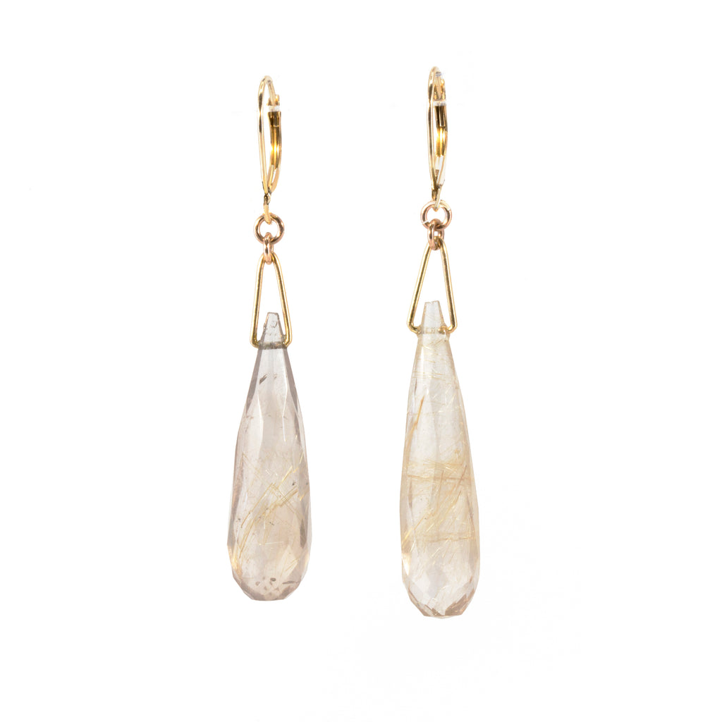 Rutilated Quartz 33.27 carat Briolette 14k Handcrafted Earrings