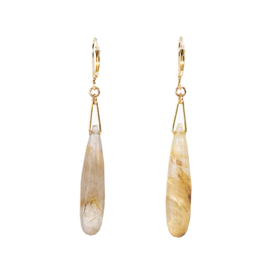 Rutilated Quartz 29.1 carat Briolette 14k Handcrafted Earrings
