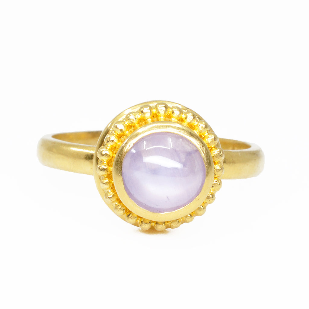 Purple Star Sapphire 1.87 cts Cabochon 22K Handcrafted Gemstone Ring