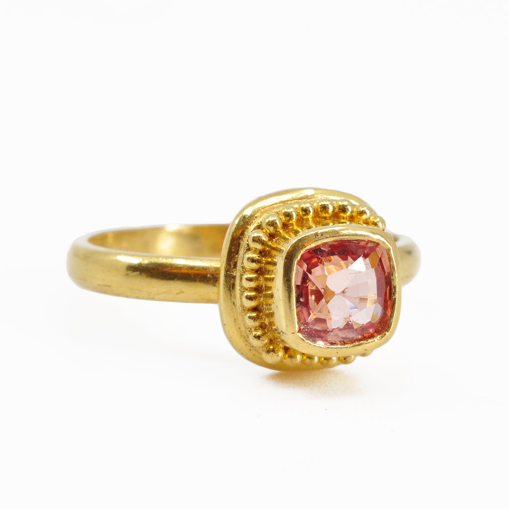 Padparadscha Sapphire 1.01 carats Faceted 22K Handcrafted Gemstone Ring