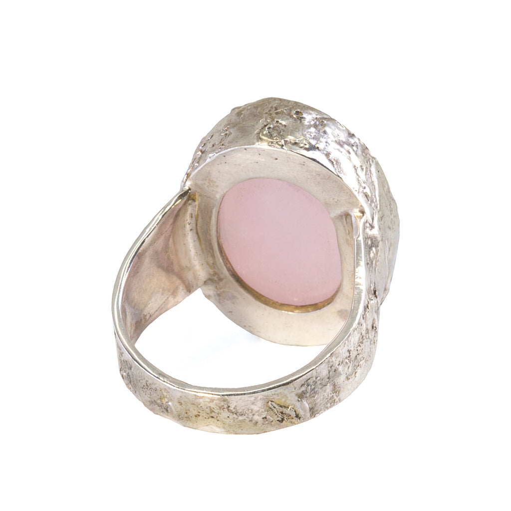 Pink Smithsonite 36.58 carat Natural Surface Cabochon Handcrafted Sterling Silver Ring