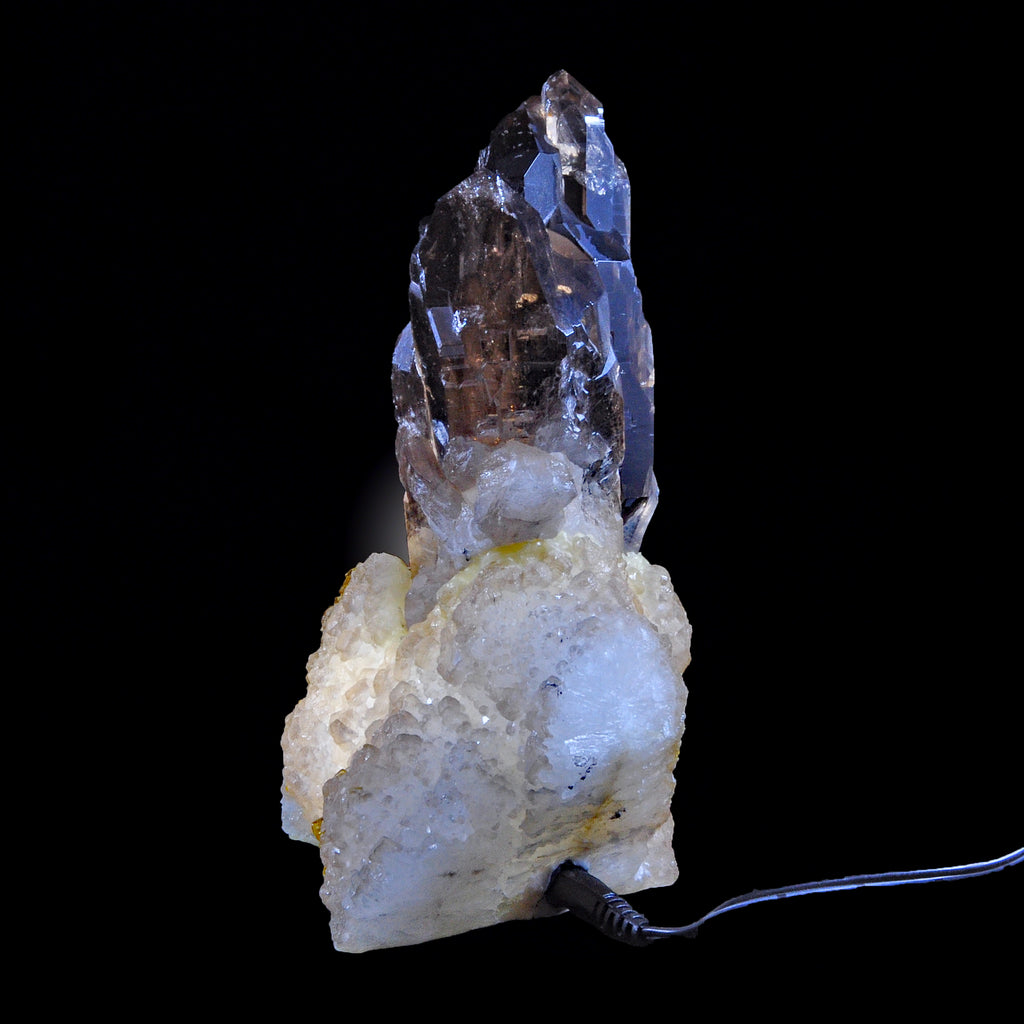 Smoky Quartz Cathedral Crystal on Custom Barite Light Base