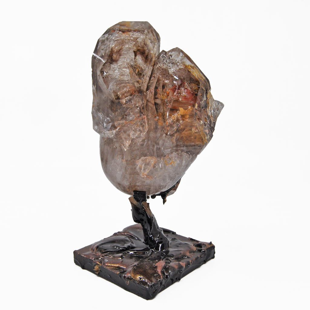 Smoky Quartz Elestial 6 inch Carved Crystal Skull  on Display Stand - Brazil