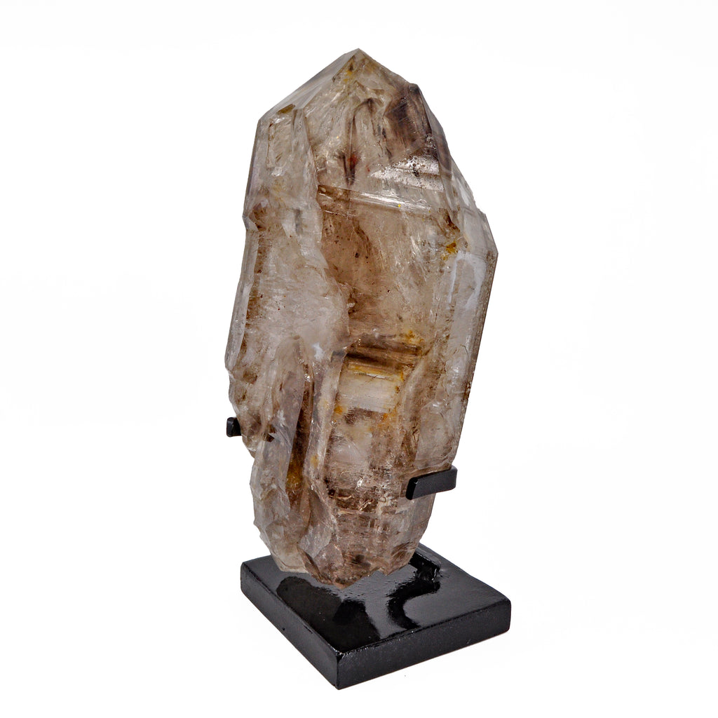 Elestial Smoky Quartz 10.5 inch 6.28 lbs Natural Crystal on Custom Metal Base - Brazil
