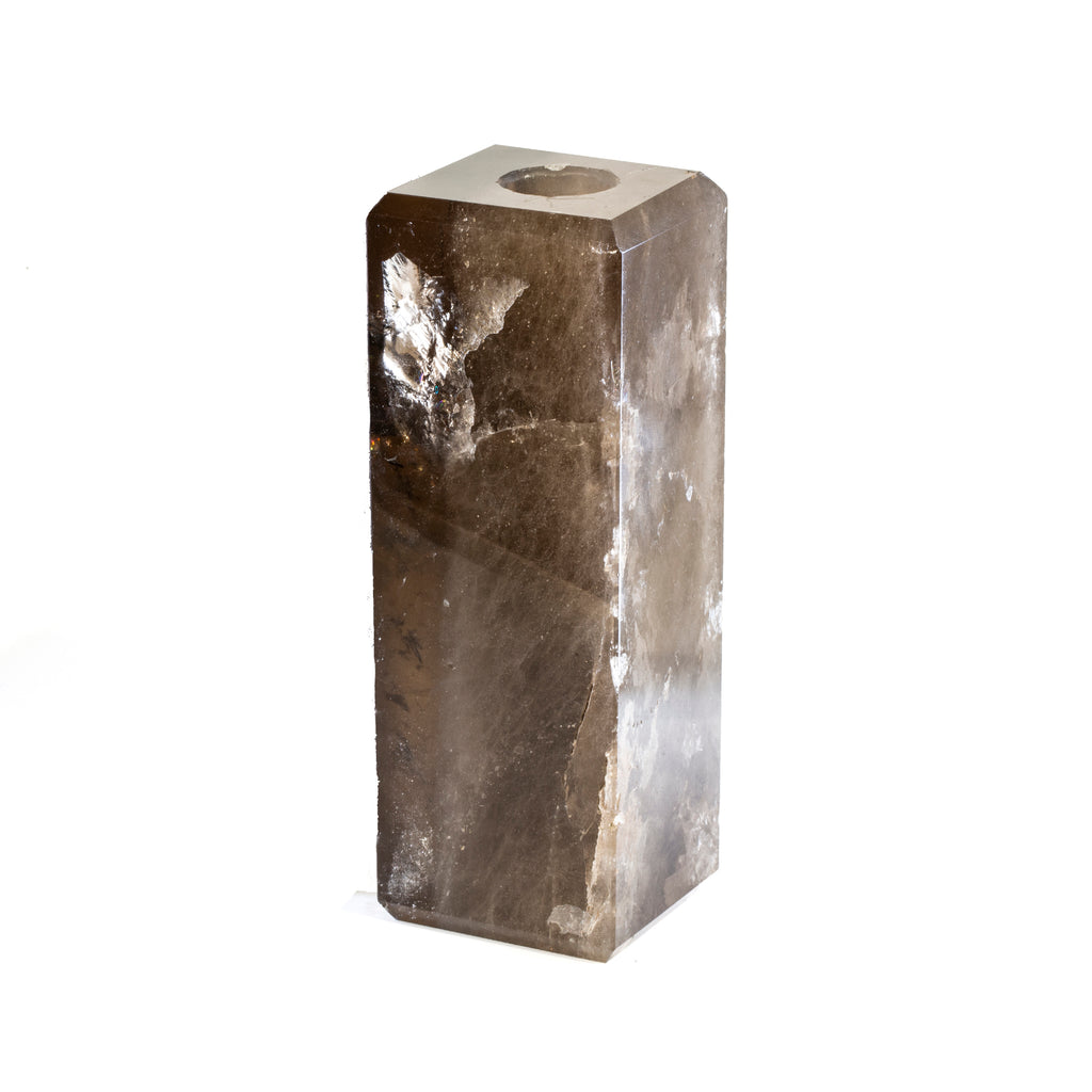 Smoky Quartz 5.9 inch Polished Crystal Candle Holder