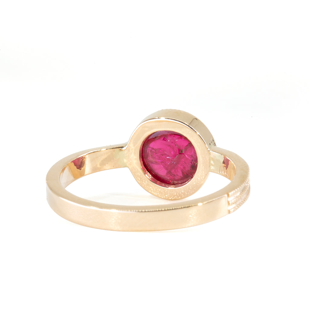 Spinel 2.2 carat Cabochon Handcrafted 14k Ring