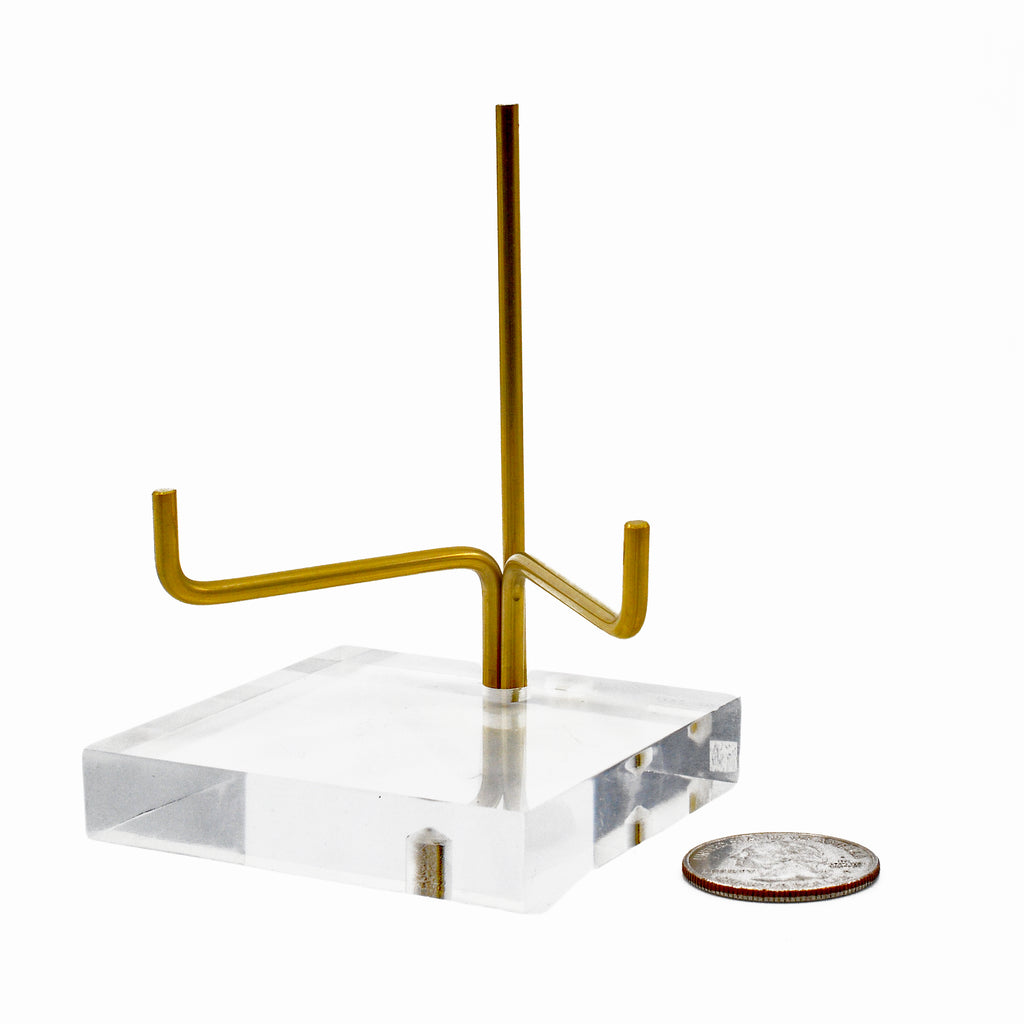 Brass and Lucite Medium Adjustable Arm Stand