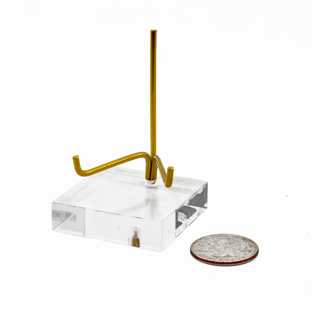 Brass and Lucite Small Adjustable Arm Stand