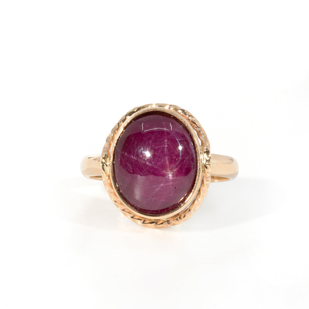 Star Ruby 10.76 carat Handcrafted 14k Ring