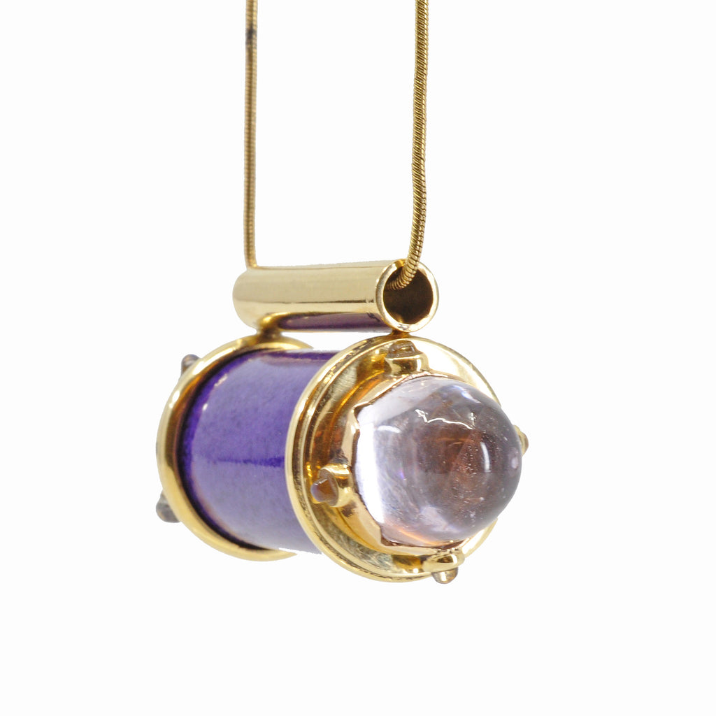 Sugilite with Kunzite and Moonstone 18K Handcrafted Gemstone Vessel Pendant