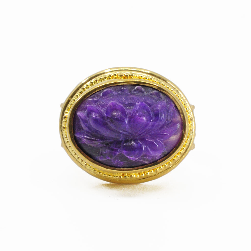 Sugilite 8.48 cts 16.65 mm Lotus Carved Cabochon 22k Handcrafted Gemstone Ring