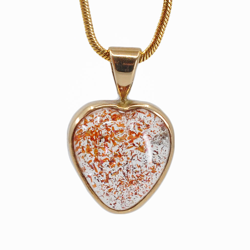Tanzanian Sunstone 11.02 mm 9.05 ct Heart Cabochon 14K handcrafted Gemstone Pendant