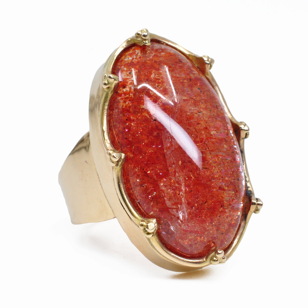 Tanzanian Sunstone 29.33 mm 30.96 ct Oval Cabochon 14K Handcrafted Gemstone Ring