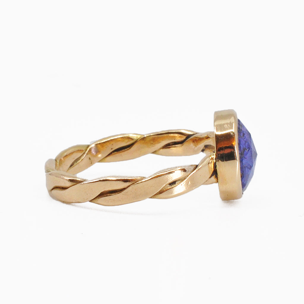 Faceted Tanzanite 2.26ct Handcrafted 14k Woven Band Ring