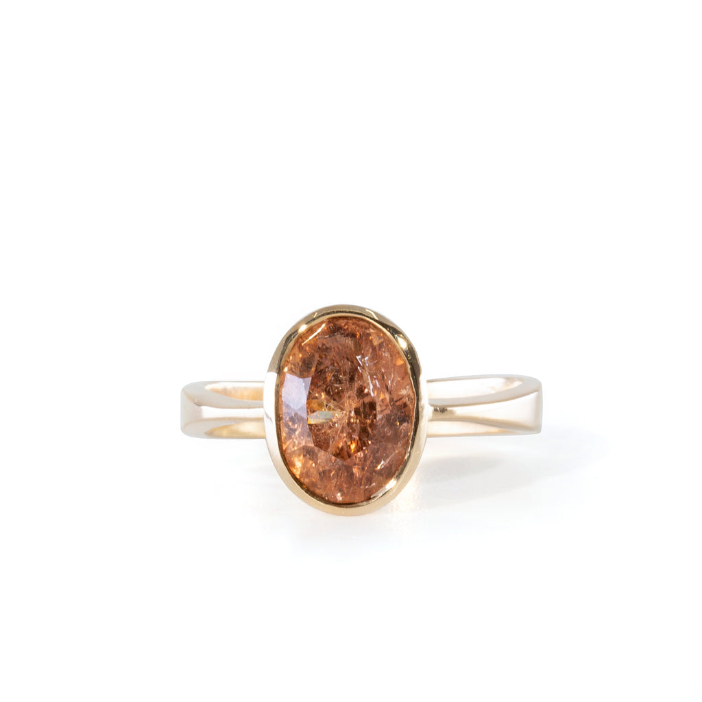Imperial Topaz 3.5 carat 9.88mm Handcrafted 14k  Ring
