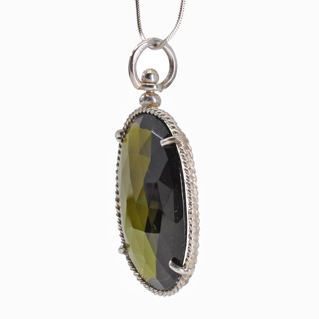 Green Tourmaline 28.07 mm 18.62 carats Faceted Oval Sterling Silver Handcrafted Pendant